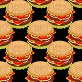 Hamburger seamless pattern. Stock Photos