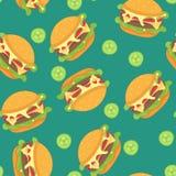 Hamburger seamless pattern. Vector illustration clip art Royalty Free Stock Photography
