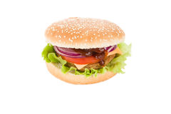 Hamburger with selective focus on white Royalty Free Stock Image