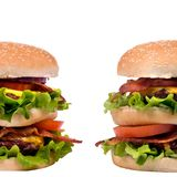 Hamburger Series (Twin Burgers) Royalty Free Stock Photography