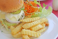 Hamburger Set Meal. With French Fries and Salad Stock Images