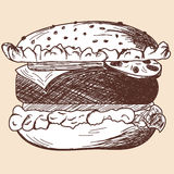 Hamburger sketch Royalty Free Stock Image