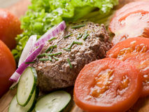 Hamburger with slice vegetables Royalty Free Stock Images