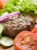 Hamburger with slice vegetables Stock Photography