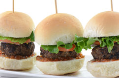 Hamburger sliders. Seasoned grilled hamburger sliders on white background Stock Image