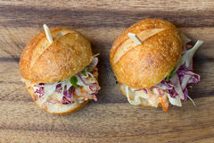 Hamburger Sliders. With Shrimp on a rustic cutting wooden board Stock Images