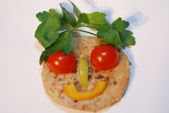 Hamburger smile. Made from vegetables Royalty Free Stock Photography