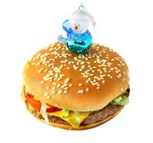 Hamburger with snowman Royalty Free Stock Photos