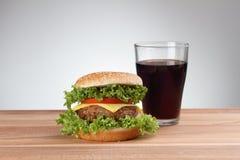 Hamburger with soda Royalty Free Stock Photos