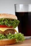 Hamburger with soda Stock Photography