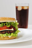 Hamburger and soda. Drink and food Royalty Free Stock Photo