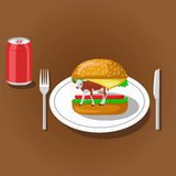 Hamburger and soda. Hamburger with cow on plate and soda can. Color flat vector illustration Royalty Free Stock Photos