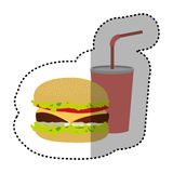 Hamburger and soda flat icon. Illustraction design Stock Photography