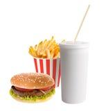 Hamburger, soda and french fries Stock Photo