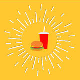Hamburger and soda with straw. Cinema icon in flat. Design style. Shining effect dash line circle Vector illustration Stock Images