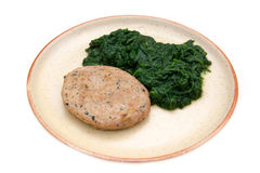 Hamburger with spinach Royalty Free Stock Images