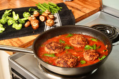 Hamburger Steak in Skillet Stock Photography
