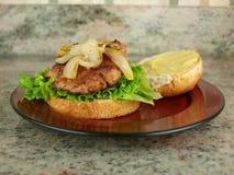 Hamburger su bun2 Immagine Stock Libera da Diritti