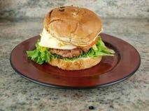 Hamburger su bun3 Fotografie Stock Libere da Diritti