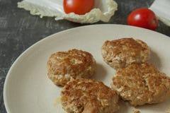 Hamburger succosi casalinghi dei tortini della carne tritata in fine del piatto su e pomodori freschi con le foglie della lattuga immagine stock