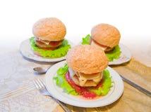 Hamburger sui piatti Fotografia Stock