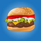 Hamburger sur le bleu Photographie stock