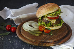 Hamburger sur un support en bois Photographie stock