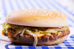 Hamburger on tablecloth Stock Images