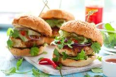 Hamburger tailandese del pollo Immagine Stock Libera da Diritti