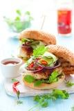 Hamburger tailandese del pollo Immagini Stock