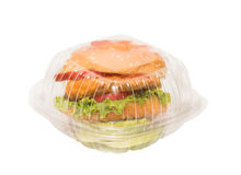 Hamburger in a take away box Royalty Free Stock Photos