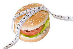 Hamburger with tape around it. Hamburger with tape around on a white background Stock Photos