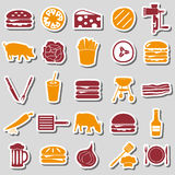 Hamburger theme modern simple icons color stickers eps10 Stock Photo
