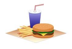 Hamburger Time. A hamburger, fries, and a drink Stock Image