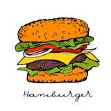 hamburger tiré par la main Images stock
