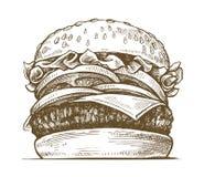 Hamburger tiré par la main de vecteur illustration de vecteur