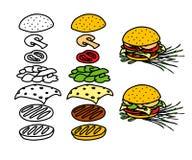 Hamburger tirado mão Imagem de Stock Royalty Free