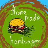Hamburger tirado mão Fotografia de Stock