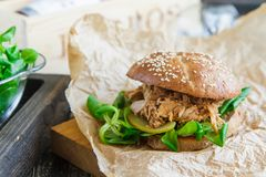 Hamburger tirato casalingo della carne di maiale con insalata di cavoli e salsa fotografia stock libera da diritti