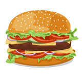 Hamburger with tomato, onions, cucumbers , lettuce , meat pattie Royalty Free Stock Photos