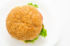 Hamburger, top view Stock Photos