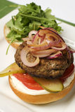 Hamburger topped with onions Royalty Free Stock Image