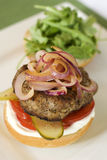 Hamburger topped with onions Royalty Free Stock Photo
