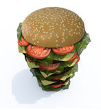 Hamburger tower 3d. Hamburger tower, isolated  3d illustration Stock Photography
