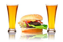 Hamburger with two beers Royalty Free Stock Images