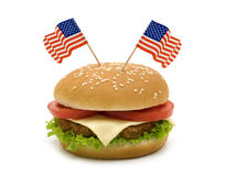Hamburger with two flags Royalty Free Stock Photo