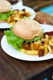 Hamburger und gebratene Kartoffeln auf einer weißen Platte lizenzfreies stockfoto