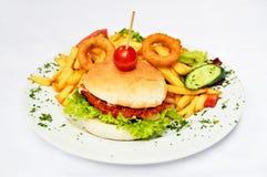 Hamburger- und Kartoffelfischrogen Lizenzfreies Stockfoto