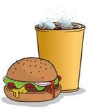 Hamburger und Koks Stockbild
