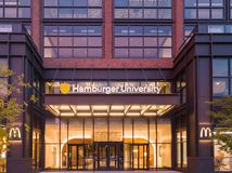 Hamburger University. McDonald`s headquarters in West Loop, Chicago. WEST LOOP, CHICAGO-August 24, 2018. McDonald`s moved it headquarters to Chicago`s West Loop stock photo